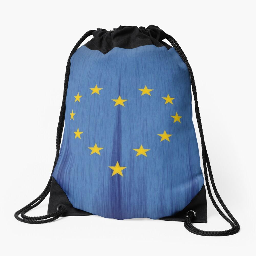 Europe, European Flag Design, Pro-EU Design, Anti-Brexit, heart-shaped, vintage look Drawstring Bag