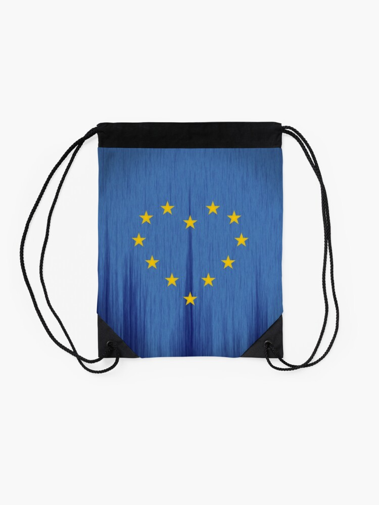 Alternate view of Europe, European Flag Design, Pro-EU Design, Anti-Brexit, heart-shaped, vintage look Drawstring Bag