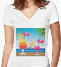 Cocktail on the beach 2 Women's Fitted V-Neck T-Shirt