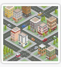 Isometric Cityscape. Isometric Buildings. Isometric Houses. Isometric City. Modern Houses. Isometric Cars.  Sticker