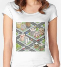 Isometric Cityscape. Isometric Buildings. Isometric Houses. Isometric City. Modern Houses. Isometric Cars.  Women's Fitted Scoop T-Shirt