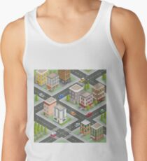 Isometric Cityscape. Isometric Buildings. Isometric Houses. Isometric City. Modern Houses. Isometric Cars.  Tank Top