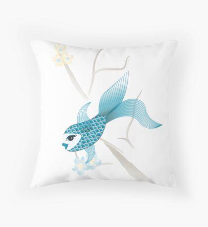 Blue Fish Fun Throw Pillow