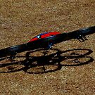 Me and my shadow landing on the cricket pitch by myraj
