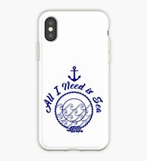 All I Need is Sea - Navy Blue iPhone Case