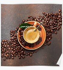 Coffee beans with cup of cofee on brown concrete table Poster