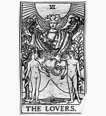 The Lovers Tarot Card - Major Arcana - fortune telling - occult Poster