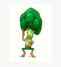 Broccoli Ninja Foodietoon Mixed Martial Arts MMA Superhero Art Print