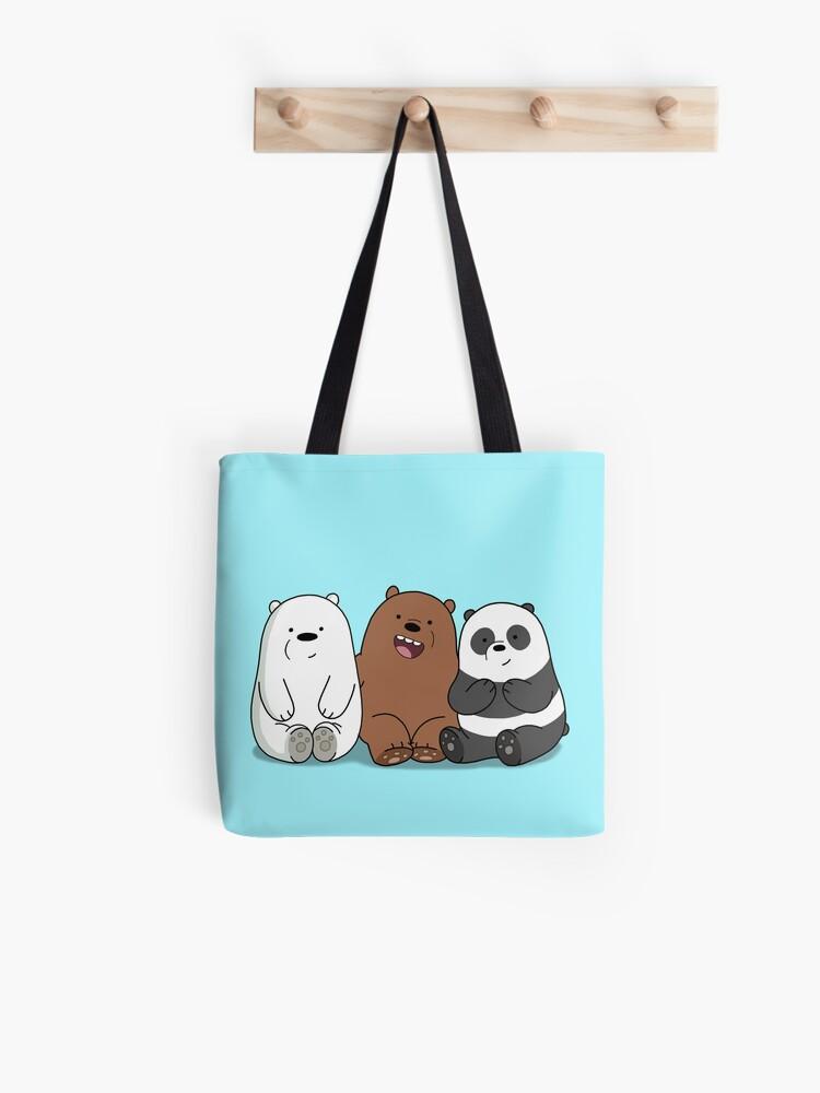 8712e841621f11 We Bare Bears Cartoon - Baby Bear Cubs - Grizz, Panda, Ice Bear Tote