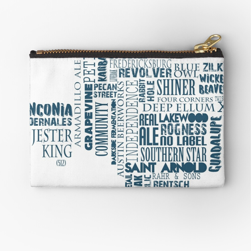 Texas Beer Lovers' Merch (blue) Zipper Pouch