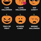 I Love Halloween Emoji Emoticons Funny Pumpkin Icons Trick of Treat Costume T-Shirt by DesIndie
