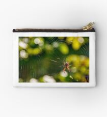 spider in the web on beautiful foliage bokeh Studio Pouch
