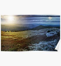 time change over stones on the edge of mountain hillside Poster