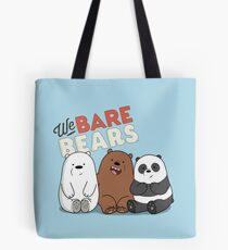 We Bare Bears Cartoon - Baby Bear Cubs - Grizz, Panda, Ice Bear - With Logo Tote Bag