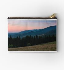 spruce forest in mountain at dawn Studio Pouch