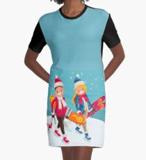 Family Snow Skiing People Isometric Graphic T-Shirt Dress