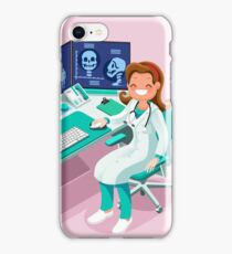 Hospital Computer Healthcare Data Isometric People iPhone Case/Skin