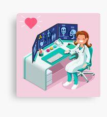 Hospital Computer Healthcare Data Isometric People Canvas Print