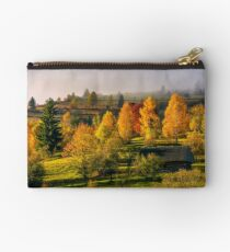 abandoned wooden house in autumn forest Studio Pouch