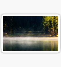 foggy surface of the forest lake at sunrise Sticker