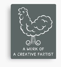 Funny humorous creative fart chicken Canvas Print