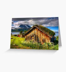 Traditional Houses at Hella, Kvaloy. Tromso, North Norway. Greeting Card