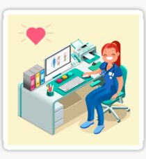 Nurse or Female Doctor Cartoon Isometric Sticker