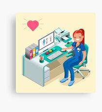 Nurse or Female Doctor Cartoon Isometric Canvas Print