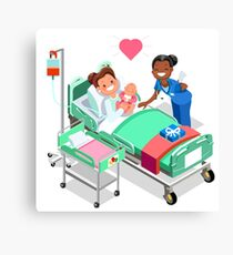 Nurse with Baby Doctor or Nurse Patient Isometric People Canvas Print