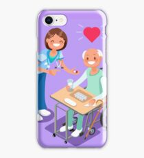 Nurse with Patient in Hospital Isometric People Cartoon iPhone Case/Skin