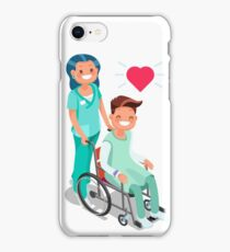 Nurse with Patient in wheelchair Isometric iPhone Case/Skin