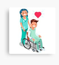 Nurse with Patient in wheelchair Isometric Canvas Print