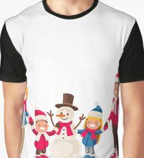 Winter Fun Isometric People Cartoon Family Graphic T-Shirt