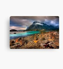 Mountain Scene, Henningsvaer, Lofoten Islands. Norway. Canvas Print