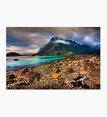 Mountain Scene, Henningsvaer, Lofoten Islands. Norway. Photographic Print