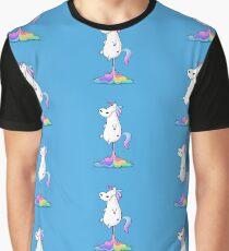 Cute fat unicorn farting funny rainbow vector cartoon illustration Graphic T-Shirt