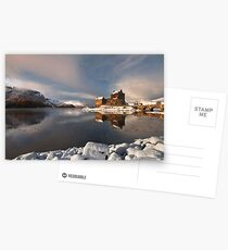 Eilean Donan Castle in Winter, Loch Duich, Scotland. Postcards