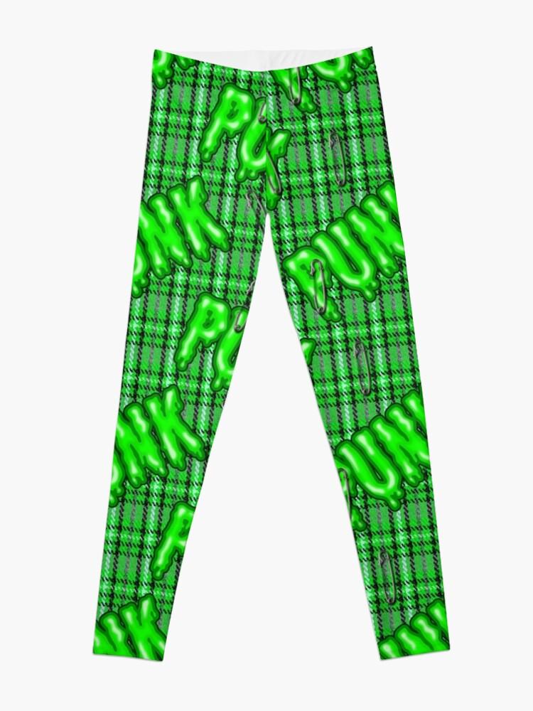 f6e0a4504745f Graffiti inspired green snotty rotten punk tartan pattern by Moose Disco  Leggings