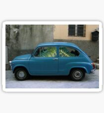 Fish Driving Blue Car Surreal Collage Sticker