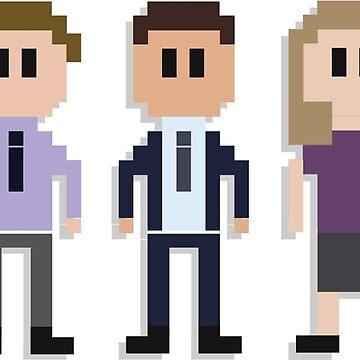 The Office U.S 8-Bit Characters | Dwight, Jim, Michael, Pam & Angela by tellytee