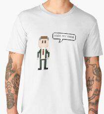 Alan Partridge 8-Bit Kiss My Face Quote Merchandise  Men's Premium T-Shirt