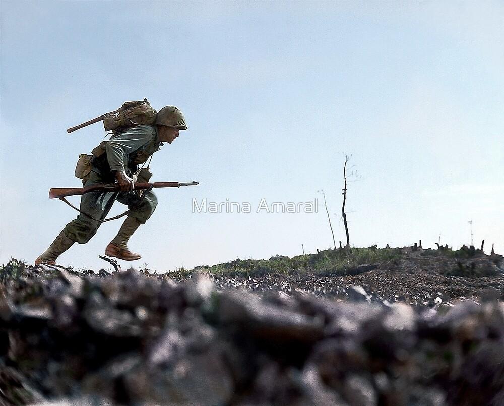 US Marine running through Japanese fire on Okinawa, Japan, 7 Jun 1945 by Marina Amaral