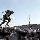 US Marine running through Japanese fire on Okinawa, Japan, 7 Jun 1945 by Marina Amaral