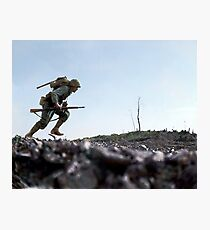 US Marine running through Japanese fire on Okinawa, Japan, 7 Jun 1945 Photographic Print