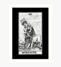 Strength Tarot Card - Major Arcana - fortune telling - occult Art Print