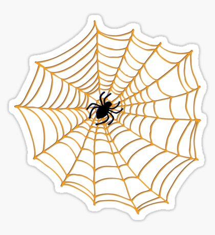 Spider Web Pattern - Black on Orange - Halloween pattern by Cecca Designs Sticker