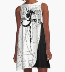 """HD  """"I kissed your mouth"""" from """"Salomé"""" by Aubrey Beardsley (1893) A-Line Dress"""