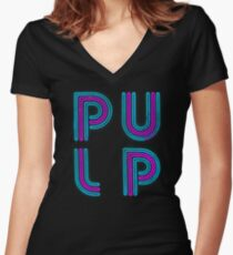 Pulp - Neon Logo Women's Fitted V-Neck T-Shirt