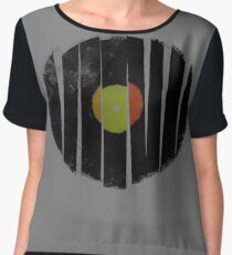 Cool Broken Vinyl Record Grunge Vintage Women's Chiffon Top