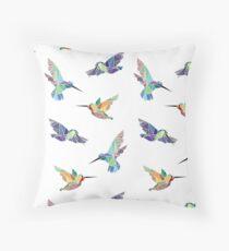 Geometric Humminbirds - White Throw Pillow